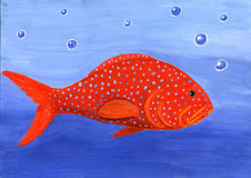Red fish. Blue, big, fish, tropical, bubbles, predatory, vivid, Day-glo, colour, bleb, blebs, specks, water, swim Royalty Free Stock Photography