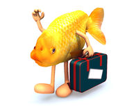 Red fish with arms and legs that take a suitcase Royalty Free Stock Images