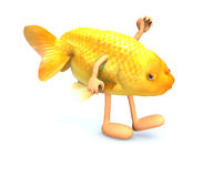 Red fish with arms and legs that walking Stock Photos