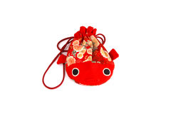 Red fish bag. Fabric chiness Royalty Free Stock Photography