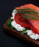 Red fish canape with cream cheese and tomato Stock Images