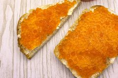 Red fish and caviar tasty selected orange large, royalty free stock photography