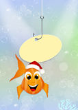Red fish with Christmas hat Royalty Free Stock Photos