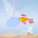 Red fish at Christmas. Illustration of red fish at Christmas Stock Photos
