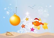 Red fish at Christmas. Illustration of red fish at Christmas Royalty Free Stock Image