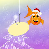 Red fish at Christmas. Illustration of red fish with Christmas hat Royalty Free Stock Image