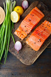 Red fish on cutting board. Top view Stock Image