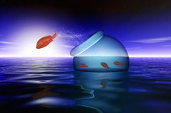 Red fish escape. Red fishes escape at sunrise from theirs fishbowl stock illustration