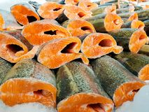 Red fish fillet in ice close up stock image