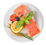 Red fish fillet with vegetables Royalty Free Stock Image