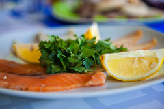 Red fish. The food in the restaurant is red fish Royalty Free Stock Photos