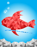 Red Fish graphic texture in the blue underwater Stock Photo