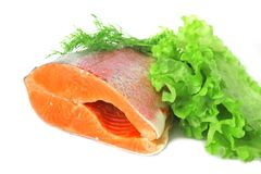 Red fish with greens Stock Photo