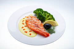 Red fish with lemon. Olive and Caviar Royalty Free Stock Photo