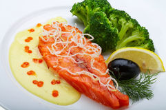 Red fish with lemon. Olive and Caviar Stock Photos