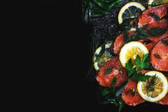 Red fish with lemon on a black background. Red fish with lemon on a black background, copy space Royalty Free Stock Image
