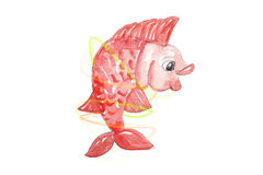 Red fish with light trails. Watercolor red smiling and happy fish with light trails Royalty Free Stock Photo