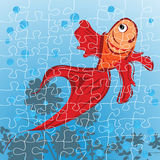 Red fish puzzle. Editable red fish puzzle, grouped objects Royalty Free Stock Images