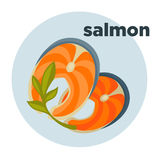 Red fish or salmon steak. Piece or slice red fish. Raw salmon steak - fresh and healthy seafood. Icon of delicious food of sea. Vector illustration isolated on Royalty Free Stock Image