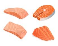 Red fish salmon for sushi food menu  illustration. Isolated white background Stock Image