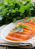 Red fish salted salmon. Elite cultivar of red fish salted salmon Stock Photography