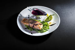 Red fish with sauce Royalty Free Stock Photos