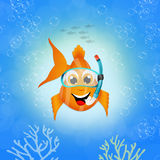 Red fish with scuba mask. Illustration of red fish with scuba mask Royalty Free Stock Photography