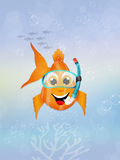 Red fish with scuba mask Royalty Free Stock Image