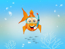 Red fish with scuba mask. Illustration of red fish with scuba mask Stock Images