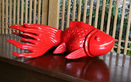 Red fish sculpture Stock Photo