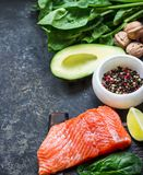 Red fish with spices, greens and avocado on grey stone background. Selective focus. Top view Royalty Free Stock Images