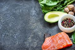 Red fish with spices, greens and avocado on grey stone background. Selective focus. Top view Stock Photography
