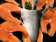 Red Fish Steak on ice of Salmon in fish market. Stock Images