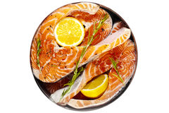 Red fish steaks with herbs Royalty Free Stock Image