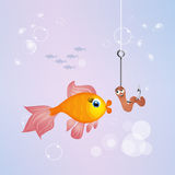 Red fish and worm in the ocean. Illustration of red fish and worm in the ocean Royalty Free Stock Photo
