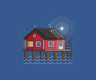 Red Fisherman Stilt House Stock Images
