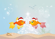 Red fishes celebrate Christmas Stock Photo