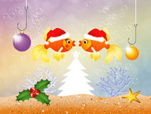 Red fishes at Christmas Stock Image