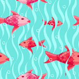 Red fishes seamless pattern Stock Photo