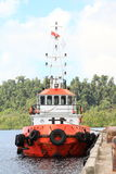Red rescue boat Stock Image