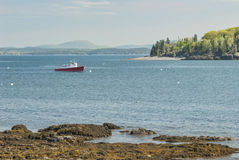 Red Fishing Boat at Bar Harbor Maine Royalty Free Stock Photography