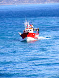 Red fishing boat, closeup. Royalty Free Stock Photography
