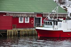 Red Fishing Boat On The Harbor Stock Photo