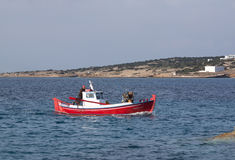 Red fishing boat Royalty Free Stock Images