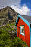 Red fishing hut Stock Photography