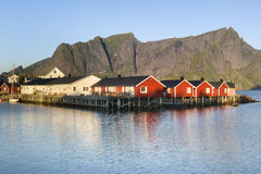 Red fishing hut (rorbu) on the Hamnoy island,  Lofoten, Norway Stock Photos
