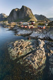 Red fishing hut (rorbu) on the Hamnoy island, Norway Royalty Free Stock Image