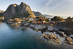 Red fishing hut (rorbu) on the Hamnoy island, Norway Royalty Free Stock Images