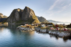Red fishing hut (rorbu) on the Hamnoy island, Norway royalty free stock photography