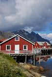 Red fishing huts on Lofoten Stock Photography